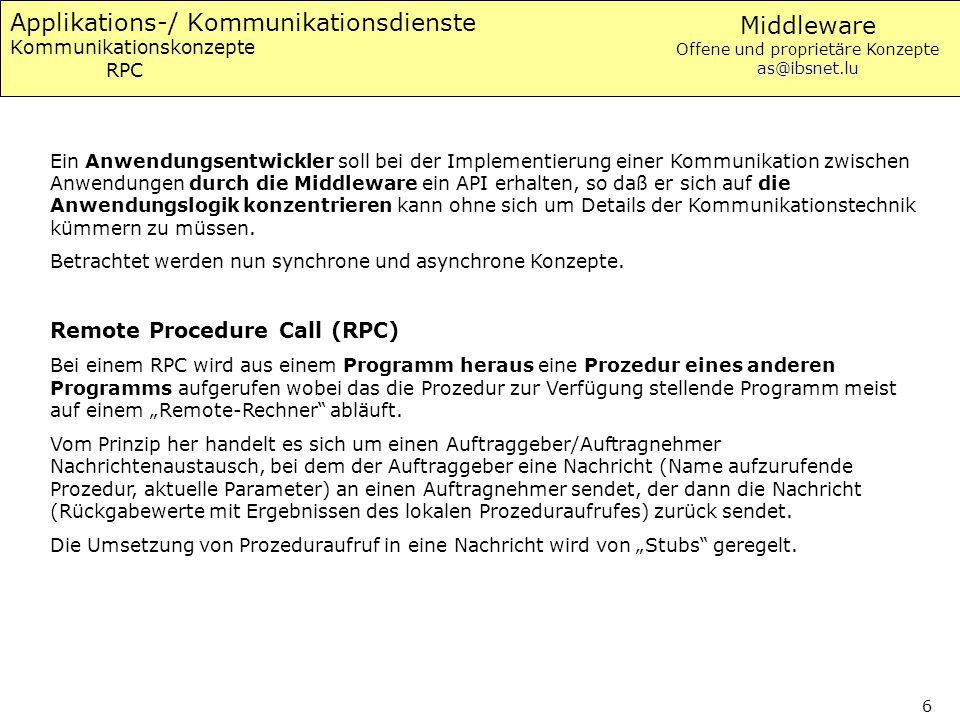 Applikations-/ Kommunikationsdienste Kommunikationskonzepte RPC