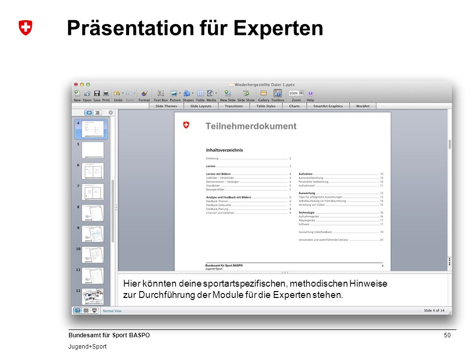 Präsentation für Experten