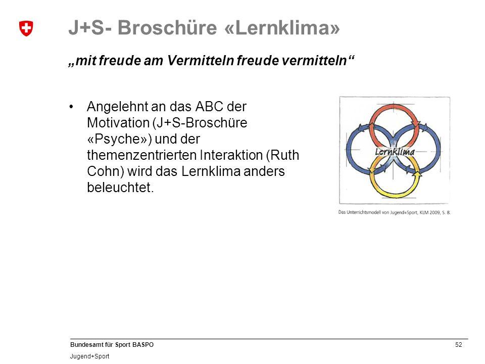 """J+S- Broschüre «Lernklima» """"mit freude am Vermitteln freude vermitteln"""