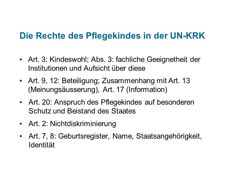 Die Rechte des Pflegekindes in der UN-KRK
