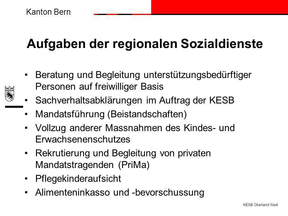 Aufgaben der regionalen Sozialdienste