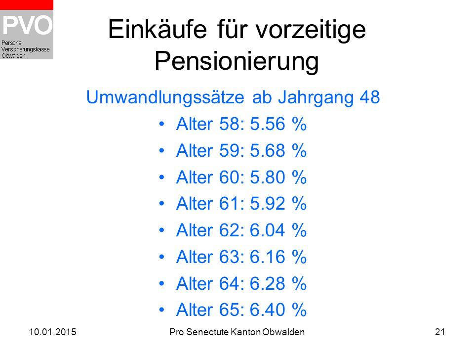 Einkäufe für vorzeitige Pensionierung