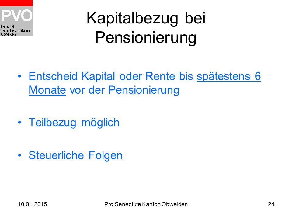 Kapitalbezug bei Pensionierung