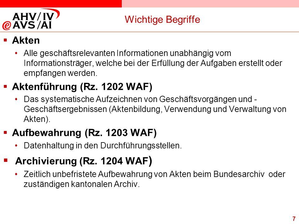 Archivierung (Rz. 1204 WAF) Wichtige Begriffe Akten