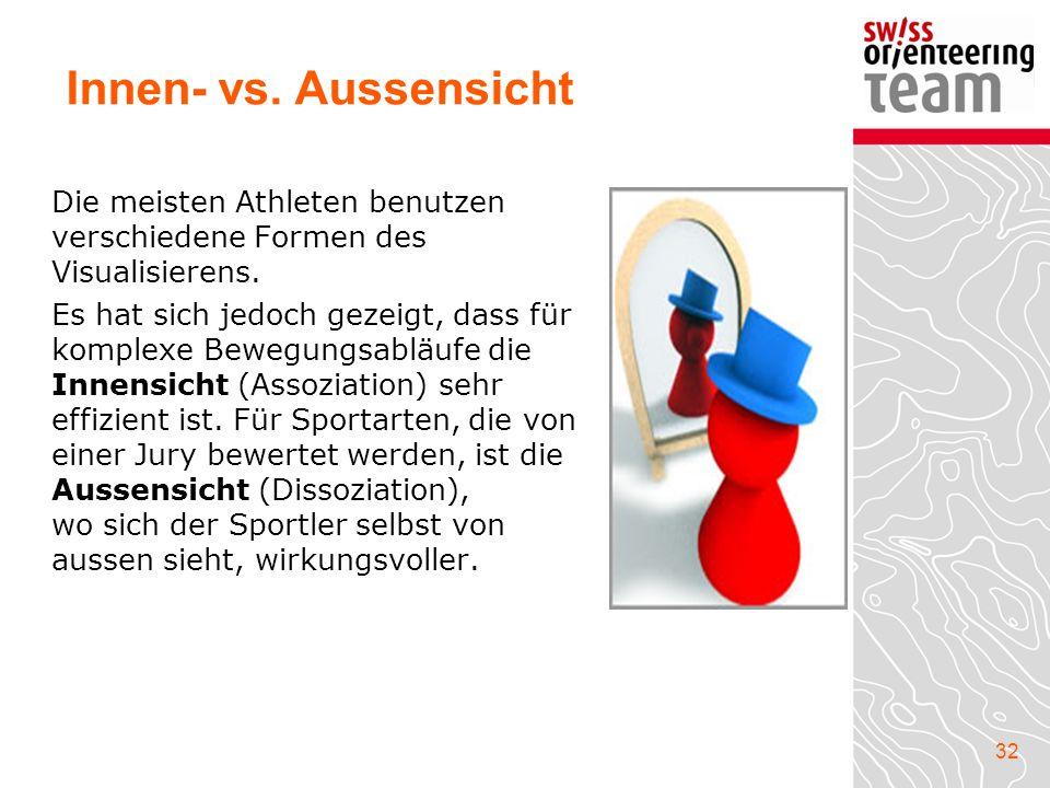 Innen- vs. Aussensicht Die meisten Athleten benutzen verschiedene Formen des Visualisierens.