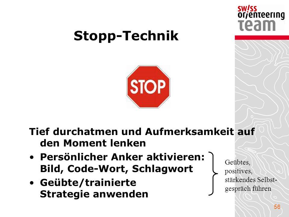 Stopp-Technik Tief durchatmen und Aufmerksamkeit auf den Moment lenken