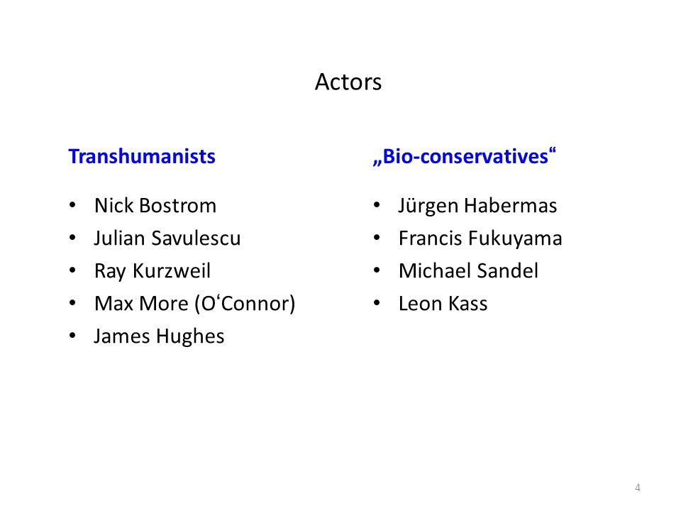 "Actors Transhumanists ""Bio-conservatives Nick Bostrom"