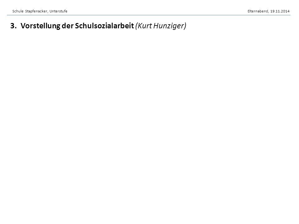 3. Vorstellung der Schulsozialarbeit (Kurt Hunziger)