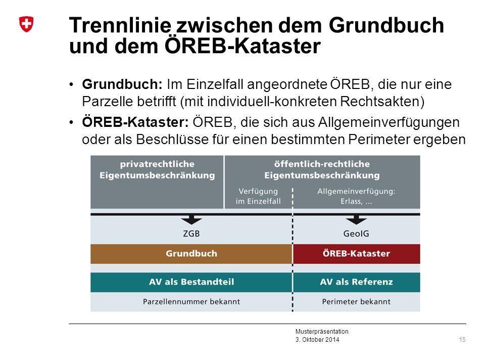 Trennlinie zwischen dem Grundbuch und dem ÖREB-Kataster