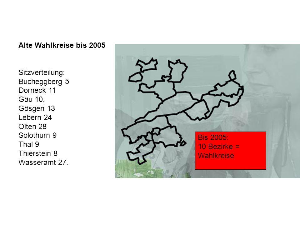 Alte Wahlkreise bis 2005 Sitzverteilung: Bucheggberg 5. Dorneck 11. Gäu 10, Gösgen 13. Lebern 24.