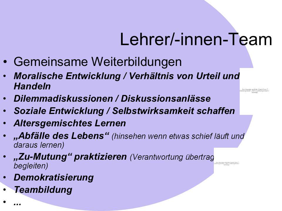 Lehrer/-innen-Team Gemeinsame Weiterbildungen