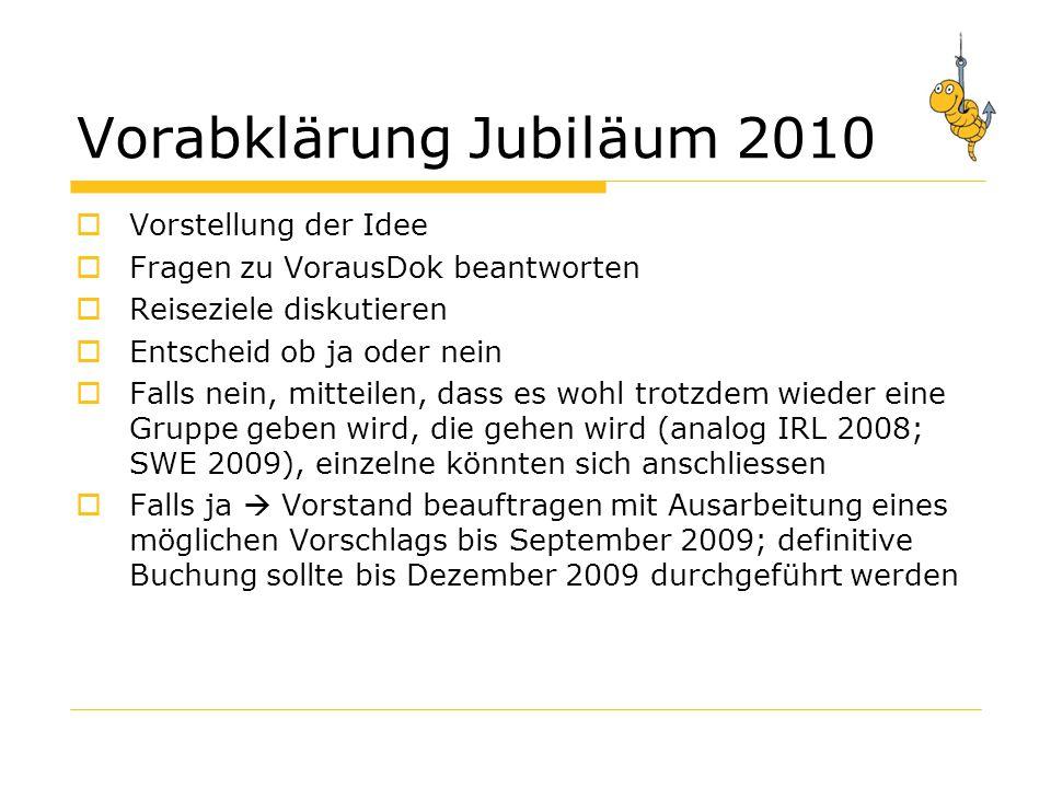 Vorabklärung Jubiläum 2010