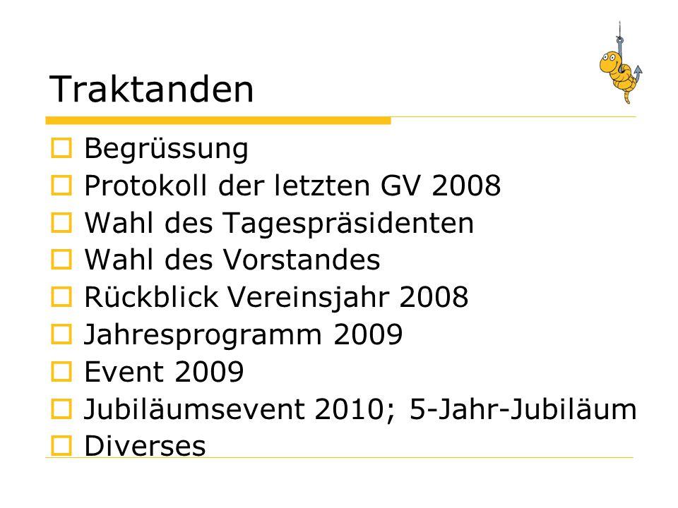 Traktanden Begrüssung Protokoll der letzten GV 2008