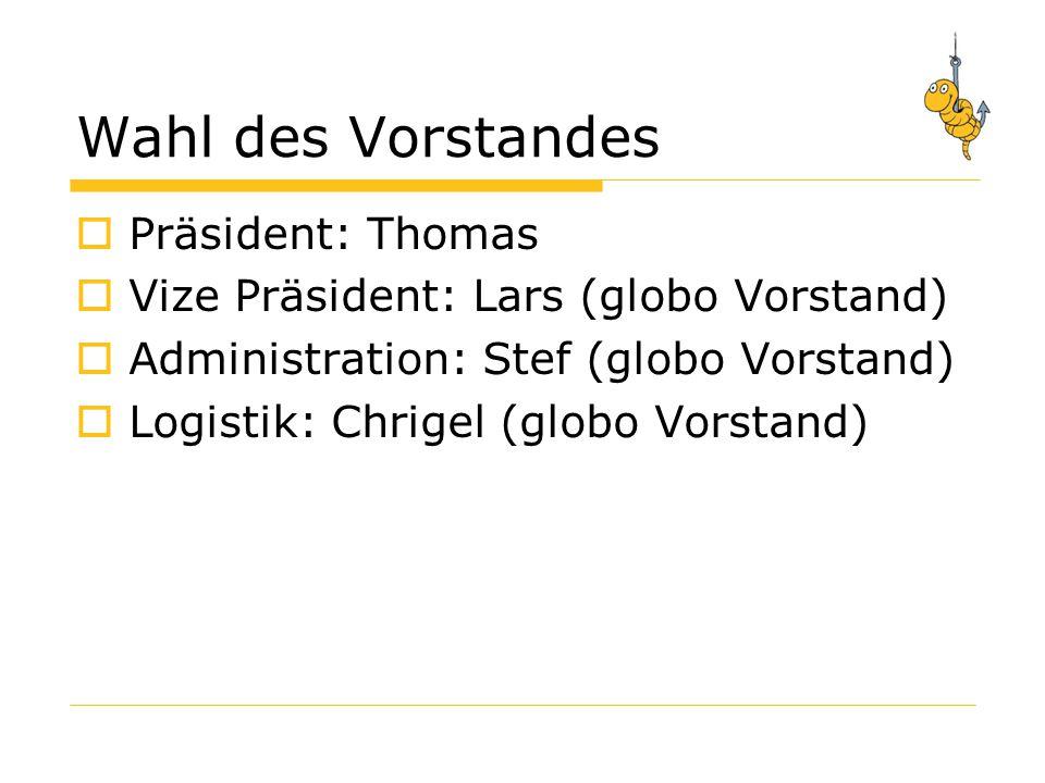 Wahl des Vorstandes Präsident: Thomas