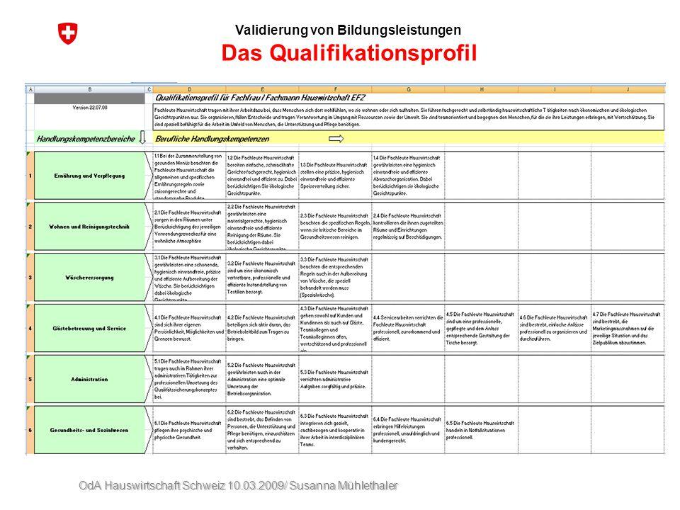 Validierung von Bildungsleistungen Das Qualifikationsprofil