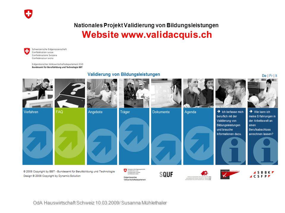 Nationales Projekt Validierung von Bildungsleistungen Website www