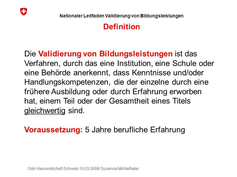 Nationaler Leitfaden Validierung von Bildungsleistungen Definition