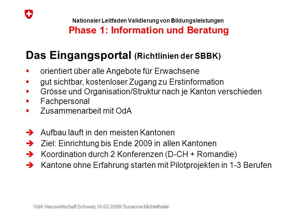 Das Eingangsportal (Richtlinien der SBBK)