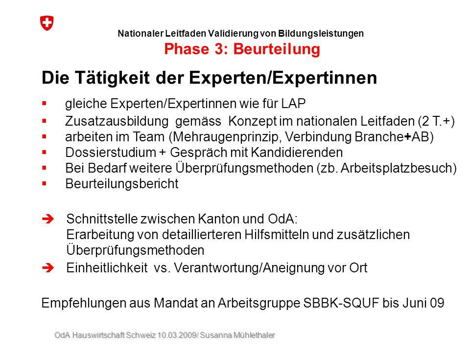 Die Tätigkeit der Experten/Expertinnen