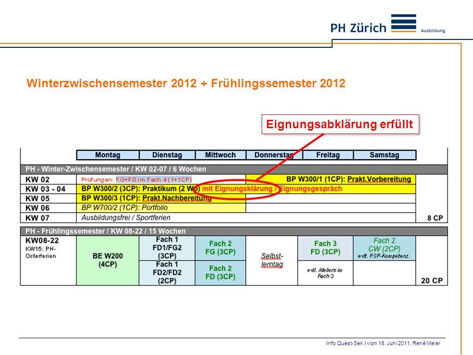 Winterzwischensemester 2012 + Frühlingssemester 2012