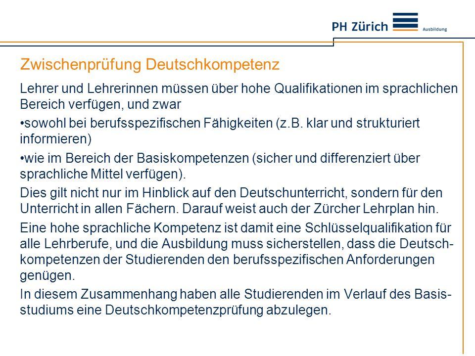 Zwischenprüfung Deutschkompetenz