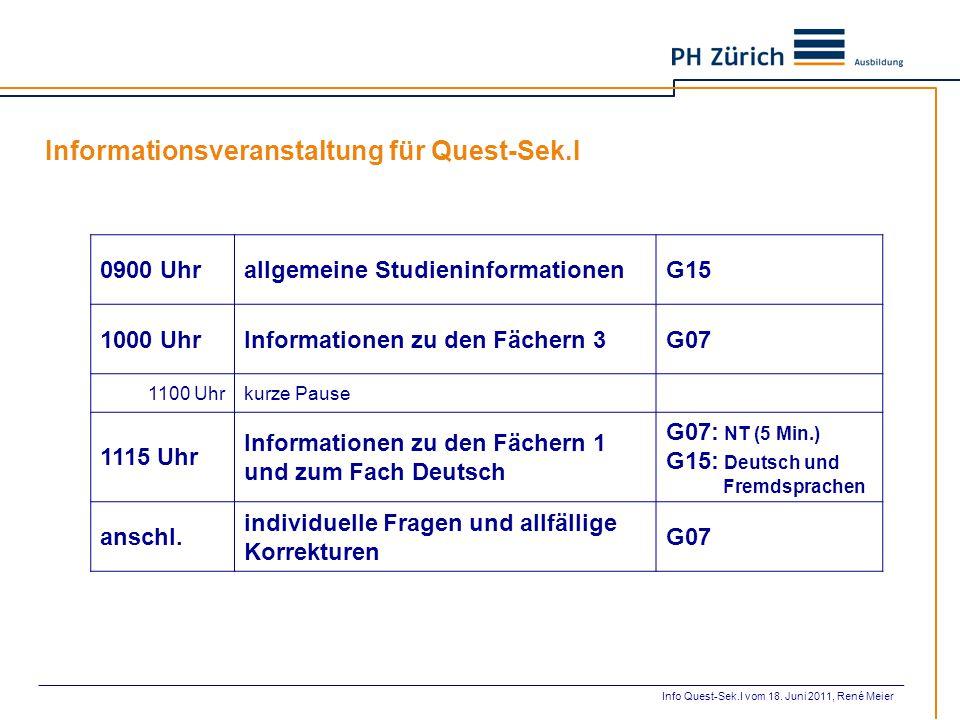 Informationsveranstaltung für Quest-Sek.I
