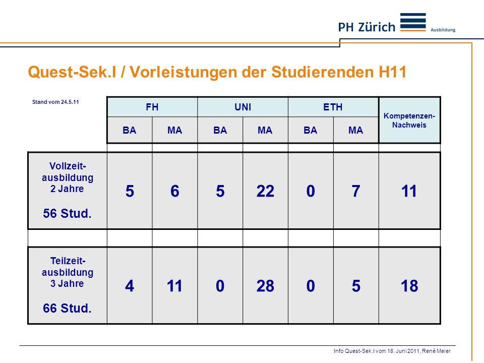 Quest-Sek.I / Vorleistungen der Studierenden H11