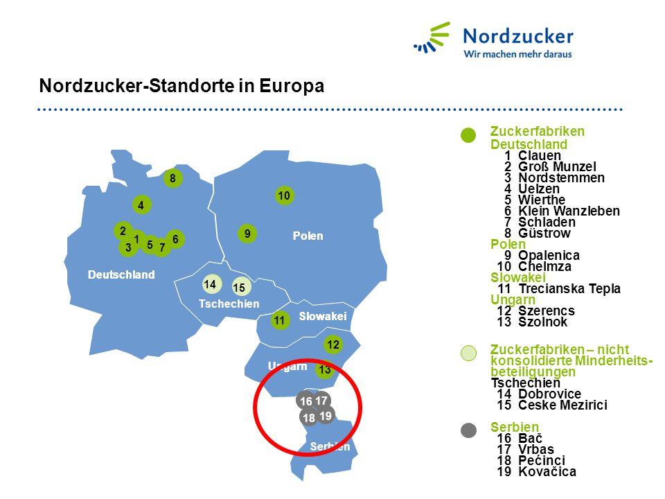 Nordzucker-Standorte in Europa