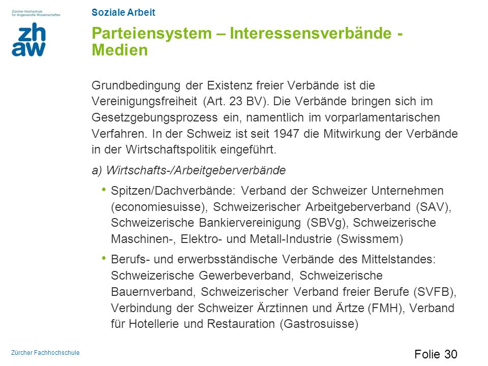Parteiensystem – Interessensverbände - Medien