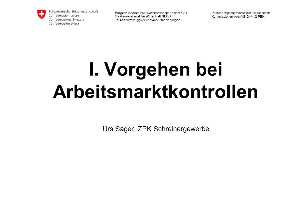 I. Vorgehen bei Arbeitsmarktkontrollen Urs Sager, ZPK Schreinergewerbe