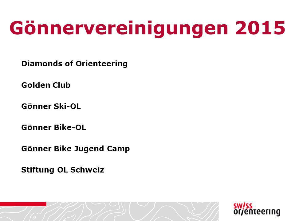 Gönnervereinigungen 2015 Diamonds of Orienteering Golden Club Gönner Ski-OL Gönner Bike-OL Gönner Bike Jugend Camp Stiftung OL Schweiz