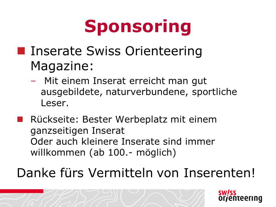 Sponsoring Inserate Swiss Orienteering Magazine: