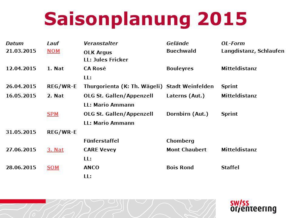 Saisonplanung 2015 Datum Lauf Veranstalter Gelände OL-Form 21.03.2015