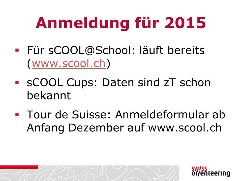 Anmeldung für 2015 Für sCOOL@School: läuft bereits (www.scool.ch)