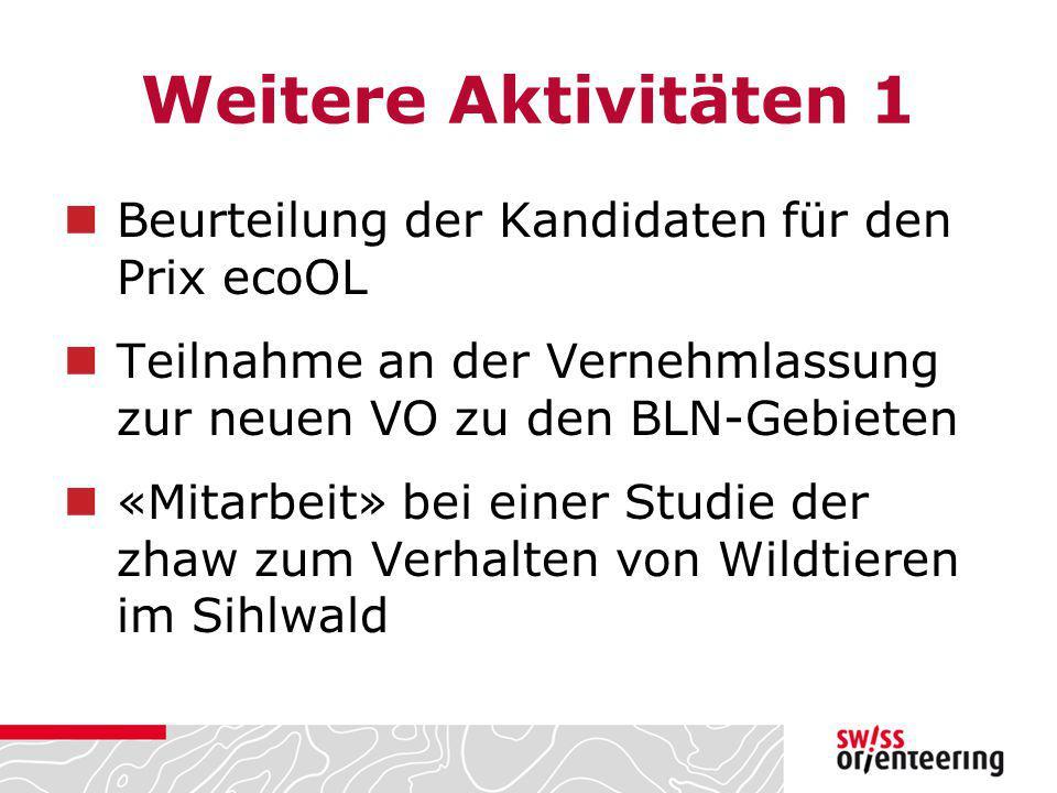 Weitere Aktivitäten 1 Beurteilung der Kandidaten für den Prix ecoOL