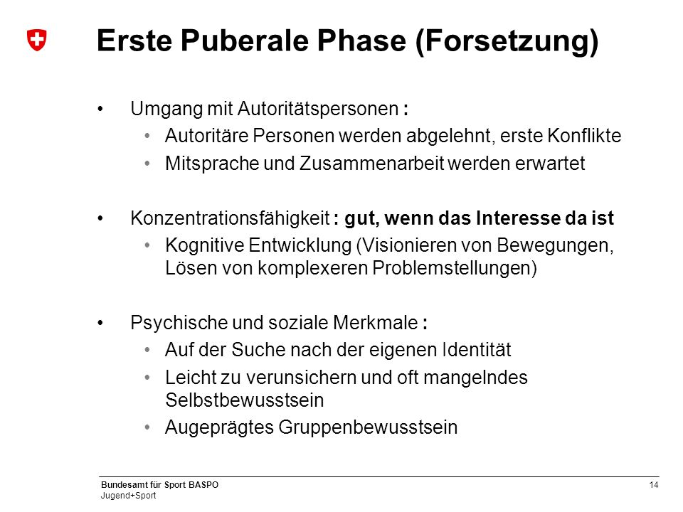 Erste Puberale Phase (Forsetzung)