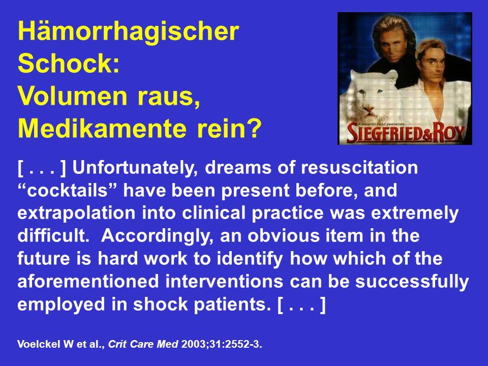 Hämorrhagischer Schock: Volumen raus, Medikamente rein