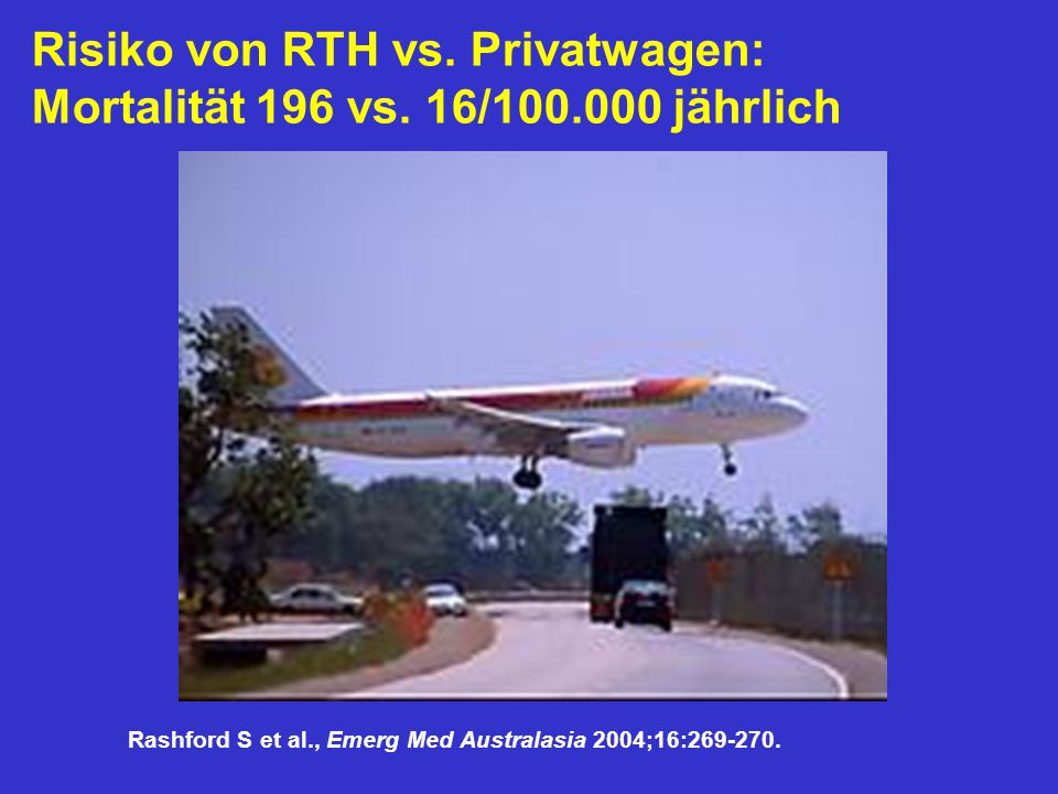 Risiko von RTH vs. Privatwagen: Mortalität 196 vs. 16/100.000 jährlich