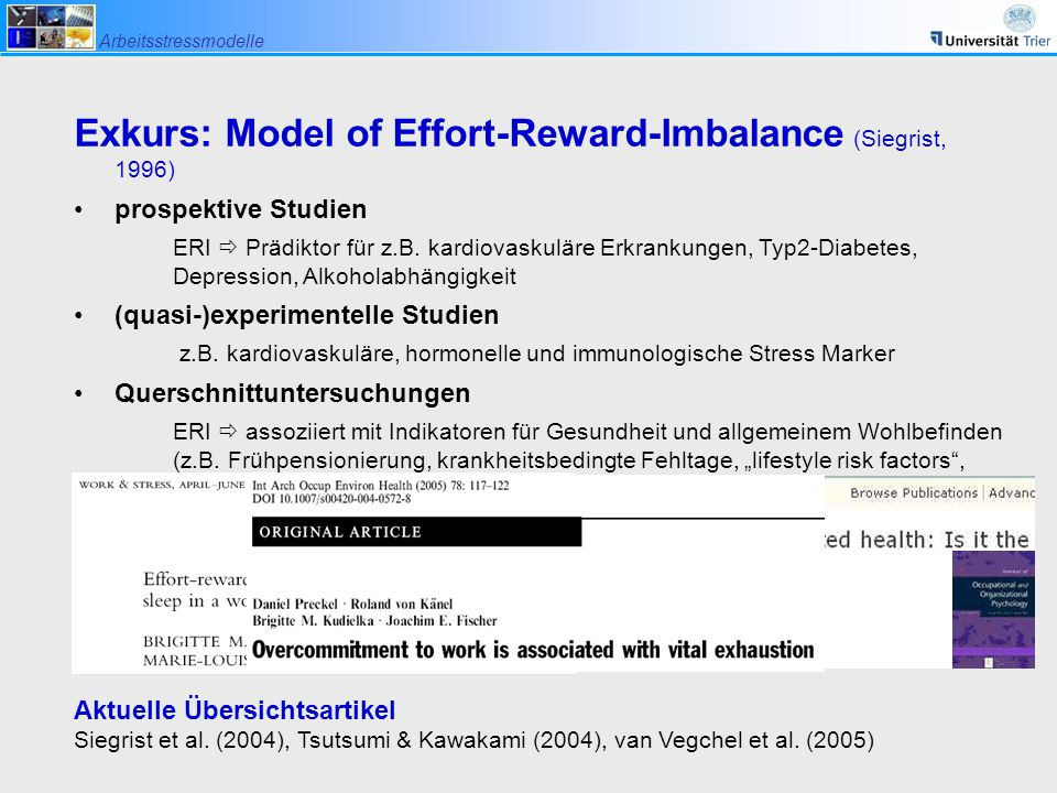 Exkurs: Model of Effort-Reward-Imbalance (Siegrist, 1996)