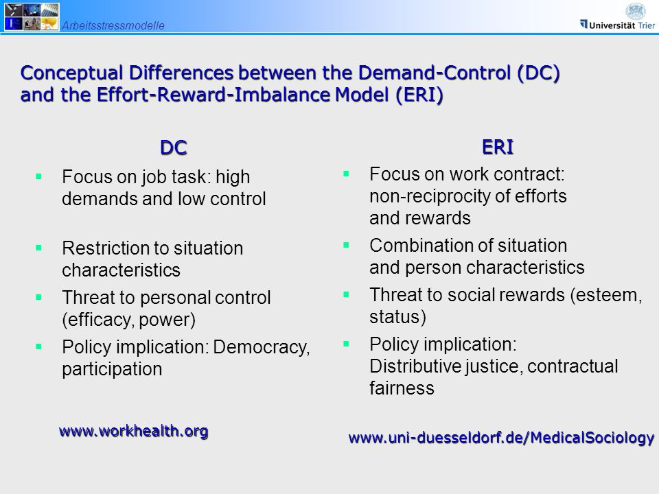 Conceptual Differences between the Demand-Control (DC) and the Effort-Reward-Imbalance Model (ERI)