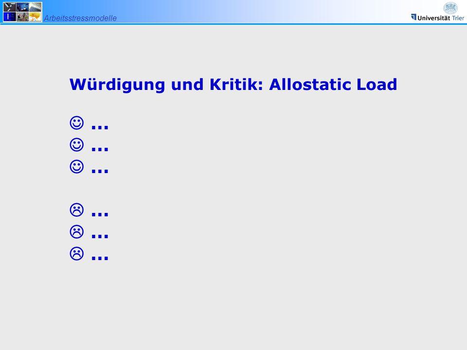 Würdigung und Kritik: Allostatic Load