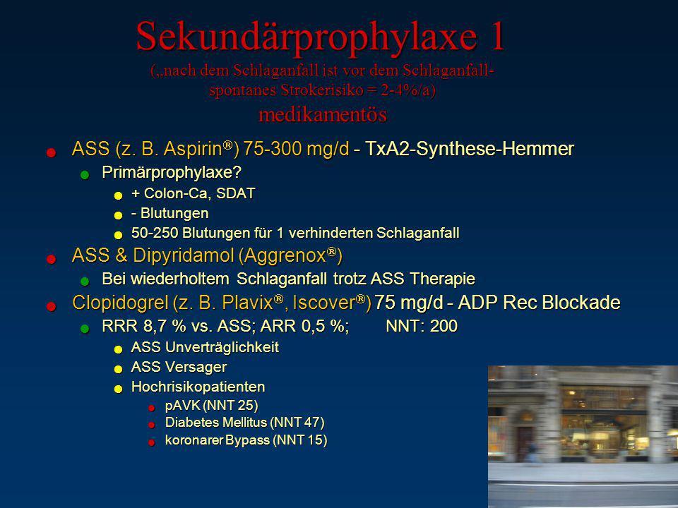 """Sekundärprophylaxe 1 (""""nach dem Schlaganfall ist vor dem Schlaganfall- spontanes Strokerisiko = 2-4%/a) medikamentös"""