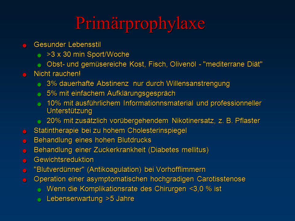 Primärprophylaxe Gesunder Lebensstil >3 x 30 min Sport/Woche