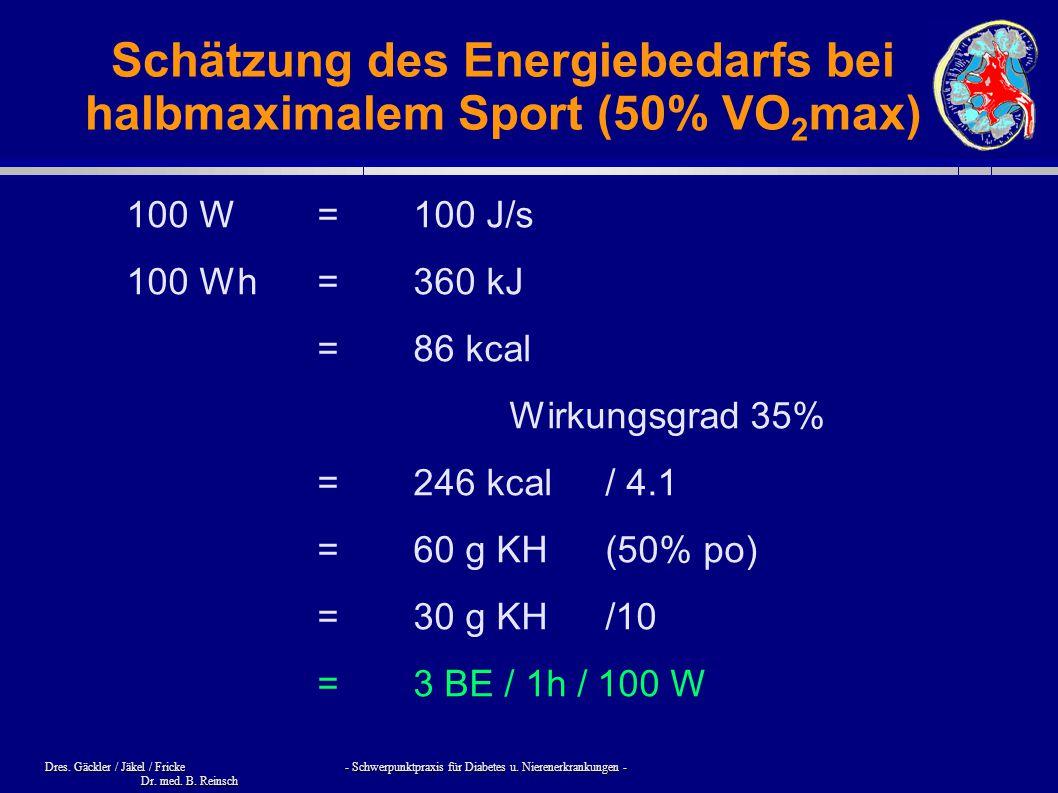 Schätzung des Energiebedarfs bei halbmaximalem Sport (50% VO2max)