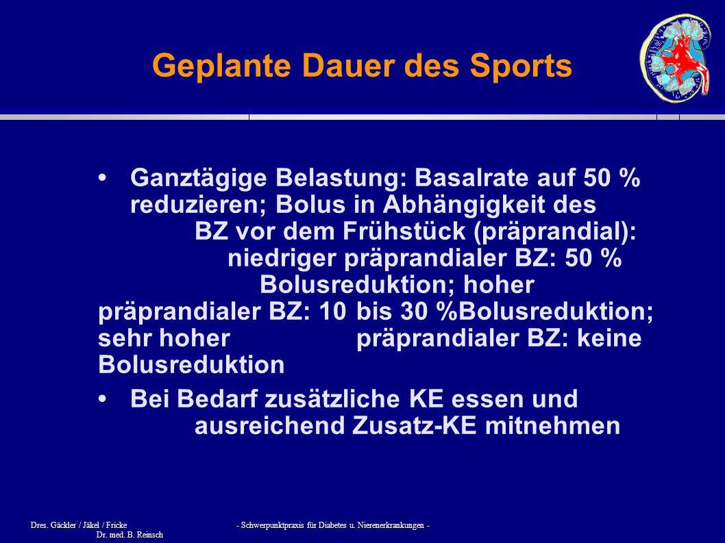 Geplante Dauer des Sports