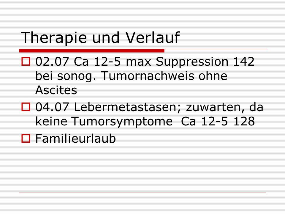 Therapie und Verlauf 02.07 Ca 12-5 max Suppression 142 bei sonog. Tumornachweis ohne Ascites.