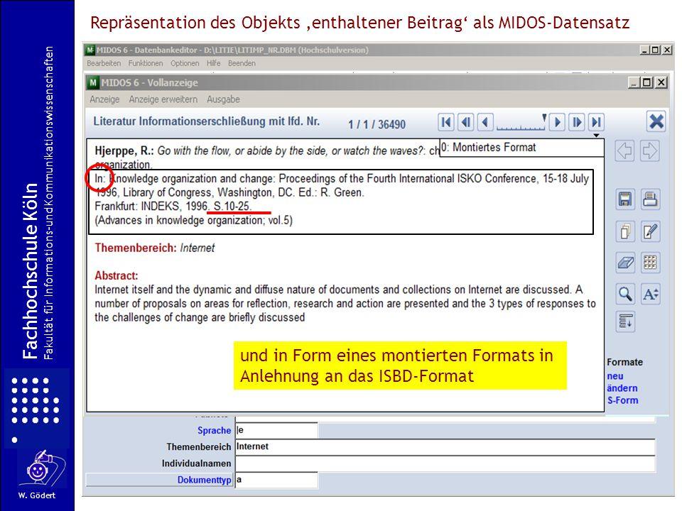 Repräsentation des Objekts 'enthaltener Beitrag' als MIDOS-Datensatz