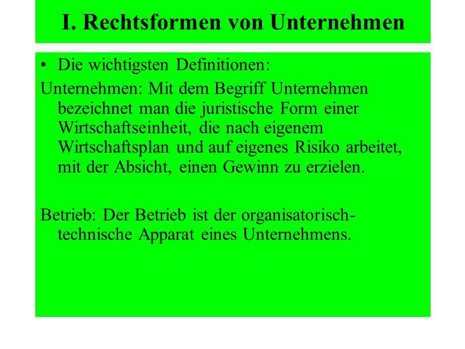 I. Rechtsformen von Unternehmen