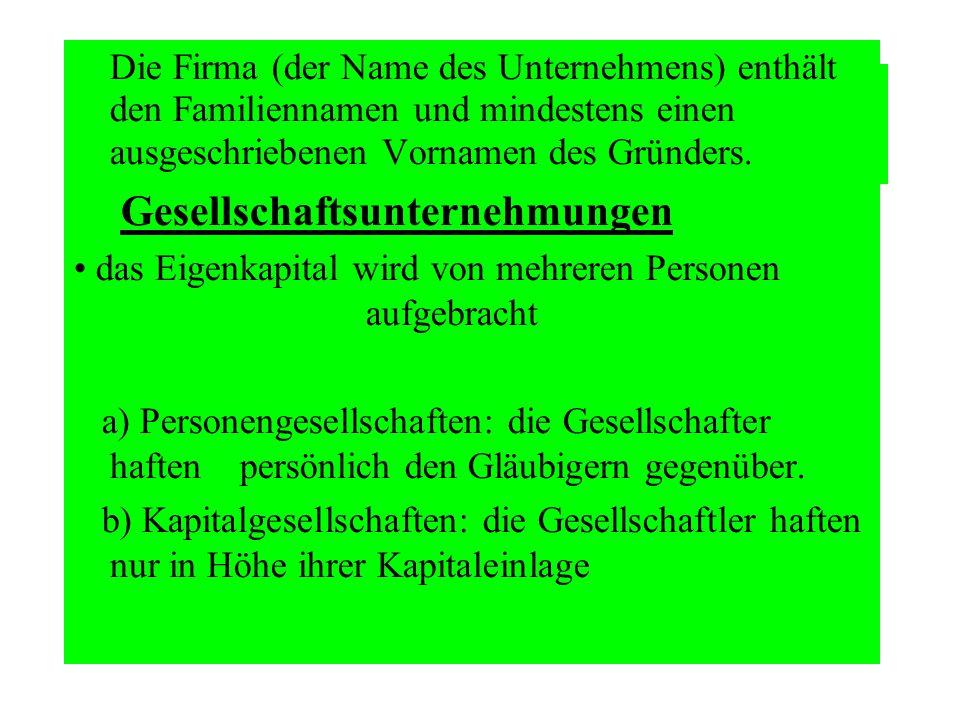 Die Firma (der Name des Unternehmens) enthält den Familiennamen und mindestens einen ausgeschriebenen Vornamen des Gründers.