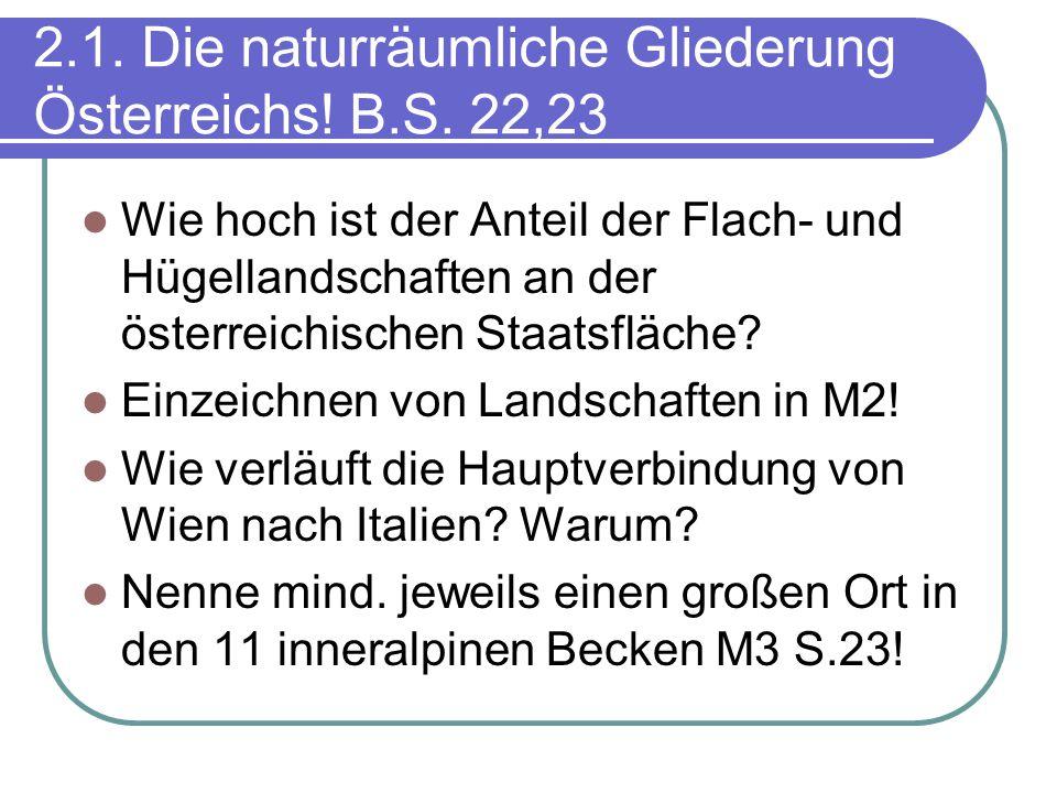 2.1. Die naturräumliche Gliederung Österreichs! B.S. 22,23